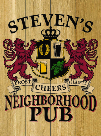 Natural Background - Personalized Neighborhood Pub Planked Wood Sign - Lions Crest (as shown)
