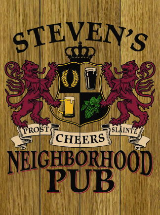 Stained Background - Personalized Neighborhood Pub Planked Wood Sign - Lions Crest