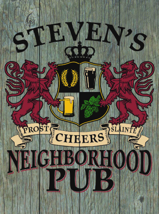 Barnwood Background - Personalized Neighborhood Pub Planked Wood Sign - Lions Crest