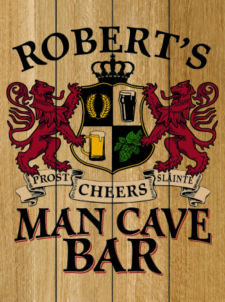 Natural Background - Personalized Man Cave Bar Planked Wood Sign - Lions Crest (as shown)