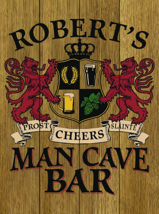 Stained Background - Personalized Man Cave Bar Planked Wood Sign - Lions Crest