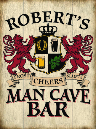 Weathered Background - Personalized Man Cave Bar Planked Wood Sign - Lions Crest