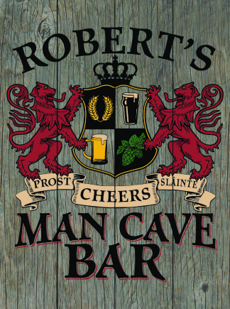 Barnwood Background - Personalized Man Cave Bar Planked Wood Sign - Lions Crest