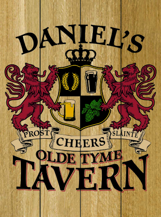 Natural Background - Personalized Old Tyme Tavern Planked Wood Sign - Lions Crest (as shown)