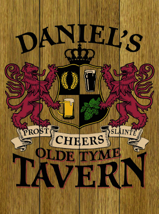 Stained Background - Personalized Old Tyme Tavern Planked Wood Sign - Lions Crest