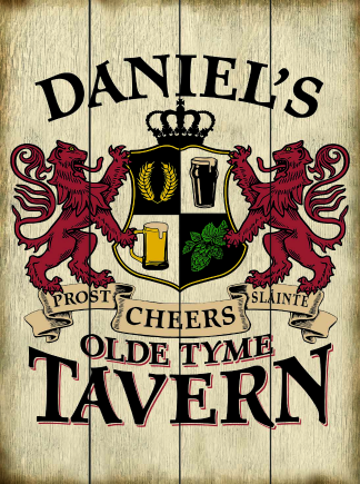 Weathered Background - Personalized Old Tyme Tavern Planked Wood Sign - Lions Crest