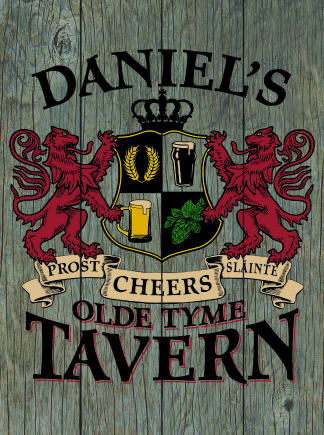 Barnwood Background - Personalized Old Tyme Tavern Planked Wood Sign - Lions Crest