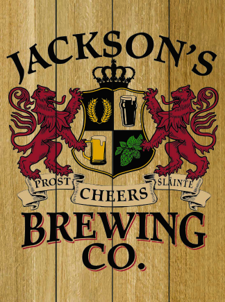 Natural Background - Personalized Brewing Co Planked Wood Sign - Lions Crest (as shown)