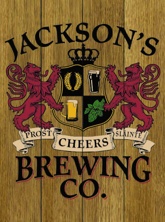 Stained Background - Personalized Brewing Co Planked Wood Sign - Lions Crest