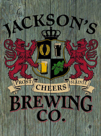 Barnwood Background - Personalized Brewing Co Planked Wood Sign - Lions Crest