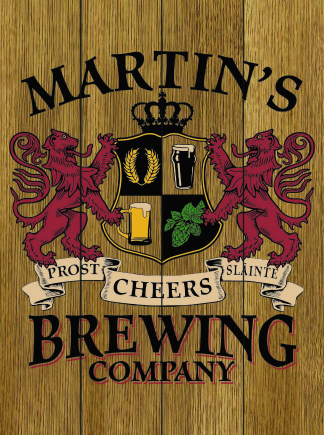 Stained Background - Personalized Brewing Company Planked Wood Sign - Lions Crest