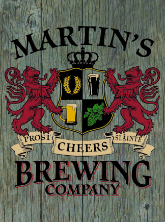 Barnwood Background - Personalized Brewing Company Planked Wood Sign - Lions Crest