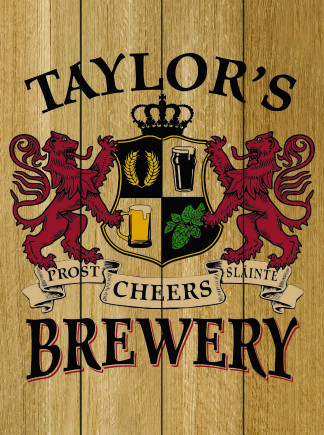 Natural Background - Personalized Brewery Planked Wood Sign - Lions Crest (as shown)