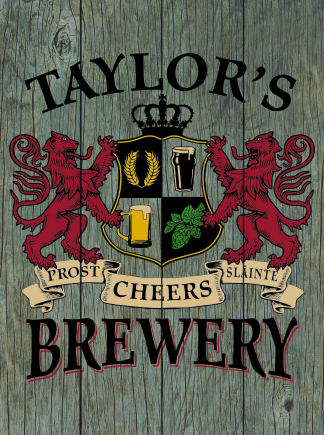 Barnwood Background - Personalized Brewery Planked Wood Sign - Lions Crest