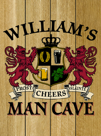 Natural Background - Personalized Man Cave Planked Wood Sign - Lions Crest (as shown)