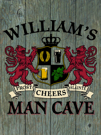 Barnwood Background - Personalized Man Cave Planked Wood Sign - Lions Crest
