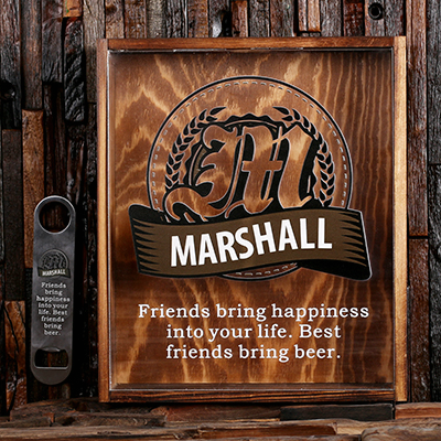 BRONZE - Personalized Beer Cap Shadow Box and Bottle Opener