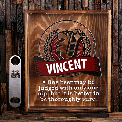BURGUNDY - Personalized Beer Cap Shadow Box and Bottle Opener