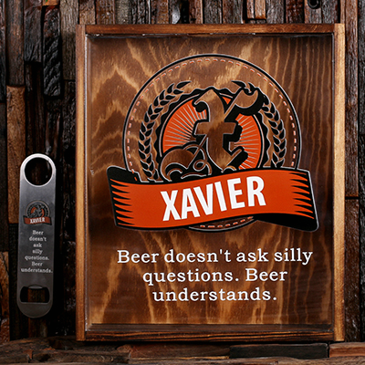 COPPER - Personalized Beer Cap Shadow Box and Bottle Opener