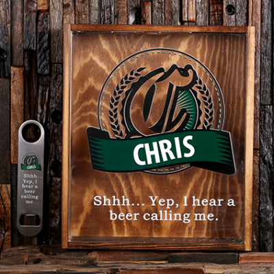 GREEN - Personalized Beer Cap Shadow Box and Bottle Opener