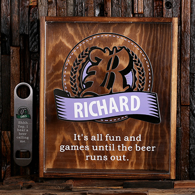LAVENDER - Personalized Beer Cap Shadow Box and Bottle Opener