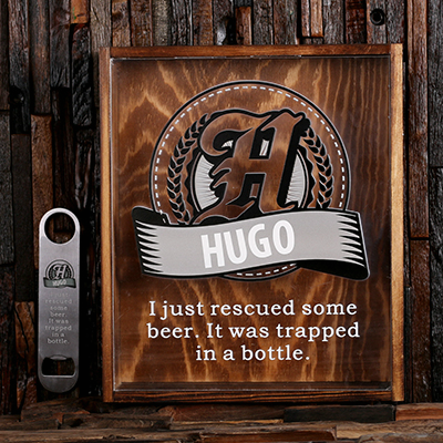 LIGHT GREY - Personalized Beer Cap Shadow Box and Bottle Opener