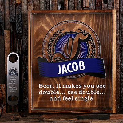 NAVY BLUE - Personalized Beer Cap Shadow Box and Bottle Opener