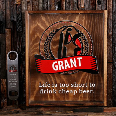 RED - Personalized Beer Cap Shadow Box and Bottle Opener