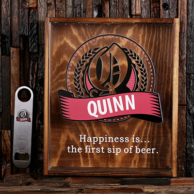 ROSE - Personalized Beer Cap Shadow Box and Bottle Opener