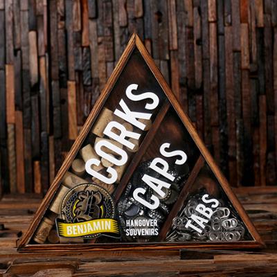 ORANGE - Personalized Wine Cork, Beer Cap, & Beer Tab Shadow Box