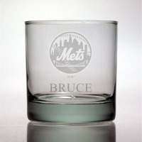 New York Mets Rocks Glass