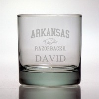 University of Arkansas Razorbacks Rocks Glass