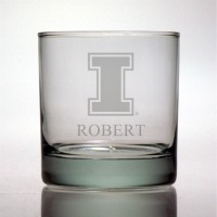 University of Illinois Fighting Illini Rocks Glass