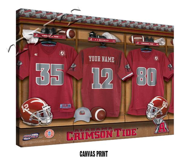 Alabama Man Cave Decor : Ncaa football locker room teams on canvas man cave gifts